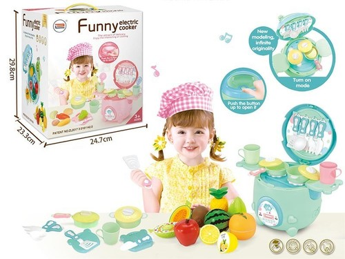 battery operated cooker w/ fruit, light & music