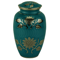 Grace Turquoise Brass Cremation Urn