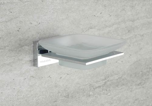 SS Finish Glass Soap Dish