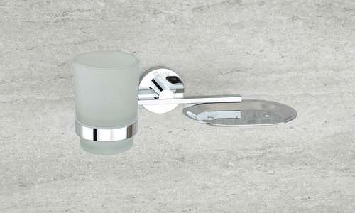 Chrome Plated Soap Dish With Tumbler Holder