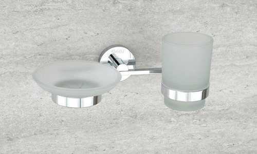 Chrome Plated Glass Soap Dish with Tumbler Holder