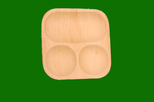 Areca 3 Compartment Square Plate