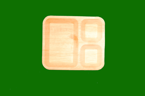 Areca Rectangle Plate 3 Compartment Plate 10 x 9