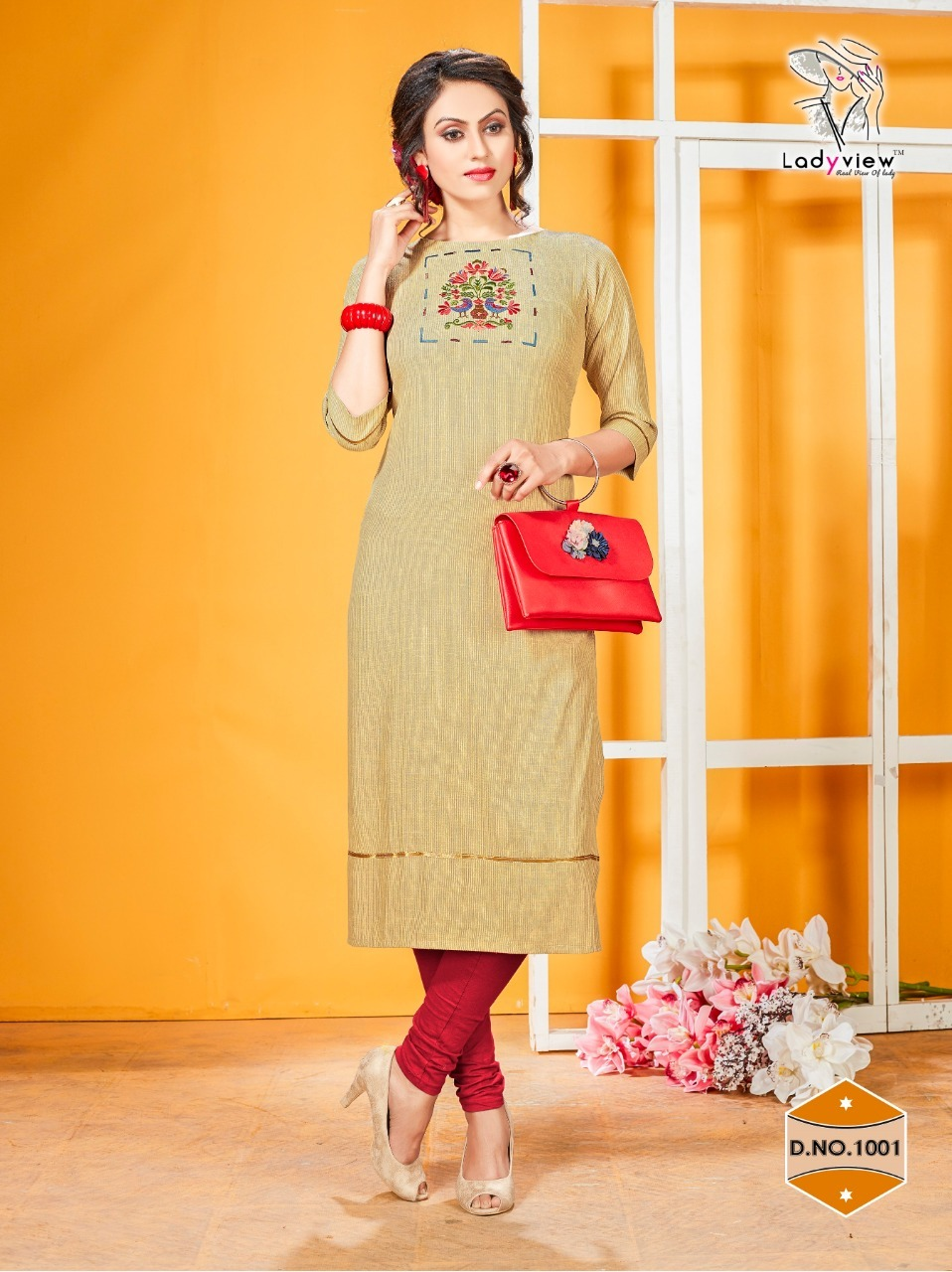Ladyview Heavy Rayon With Embroidery Pattern Kurtis