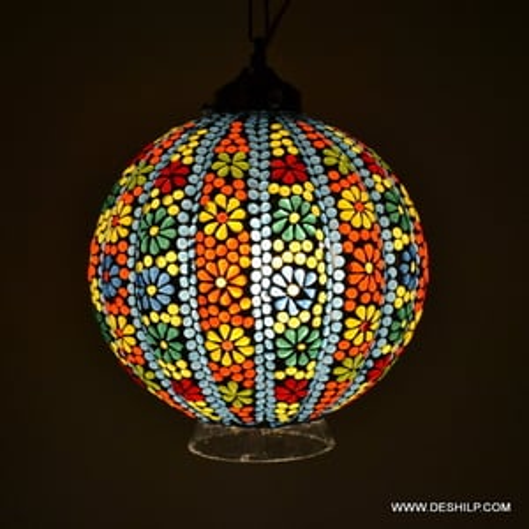 MULTI COLOR HANDMADE MOSAIC  HANGING LAMP