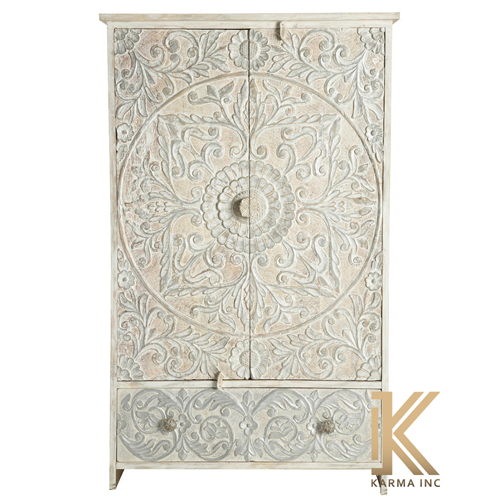 Wooden Carving Drawer Almirah