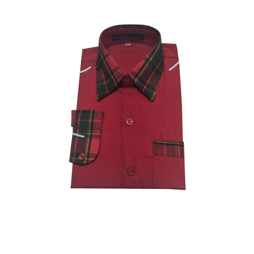 Checked Collar Neck School Uniform Shirt