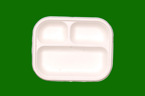 Sugarcane Bagasse G Rectangle 3 Compartment 8.5 x 7