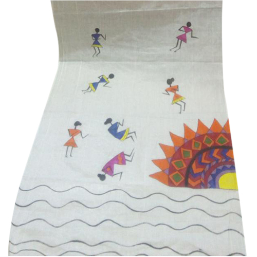White Tribal Art Hand Painted Dupatta