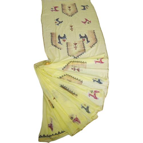 Ladies Hand Painted Yellow Saree