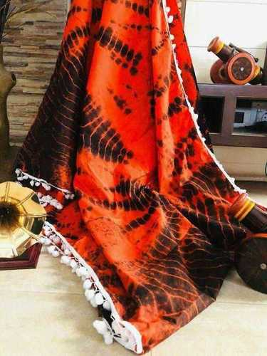 Printed Cotton Saree with Pompom
