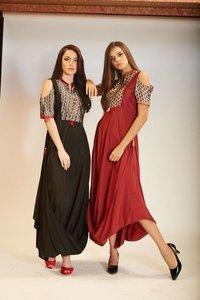 Cotton Silk Drape Dress