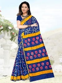 Printed Cotton Saree With Pompom Lace