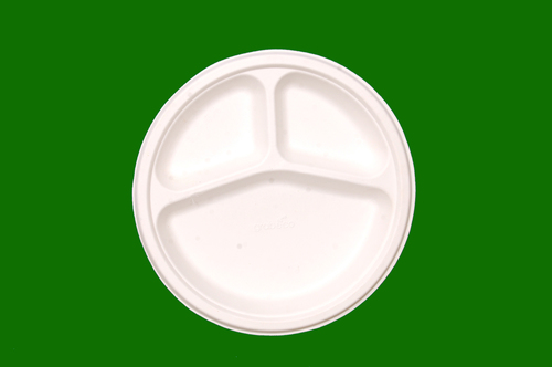 Sugarcane Bagasse Round 3 Compartment Plate 10inch