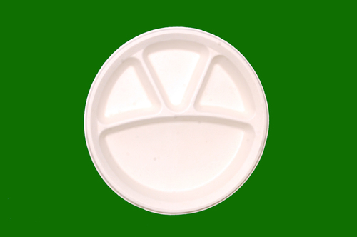Sugarcane Bagasse Round Plate 4 Compartment 10.5inch