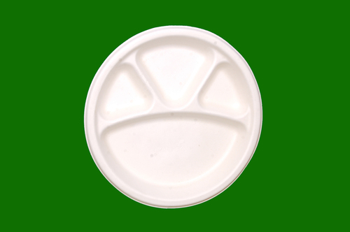 Sugarcane Bagasse G Round 4 Compartment Plate 11inch