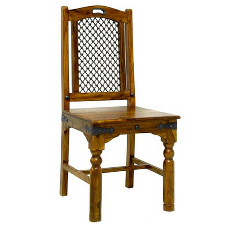 Iron Jali Wooden Chair
