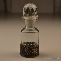 GLASS PERFUME BOTTLE WITH METAL FITTING