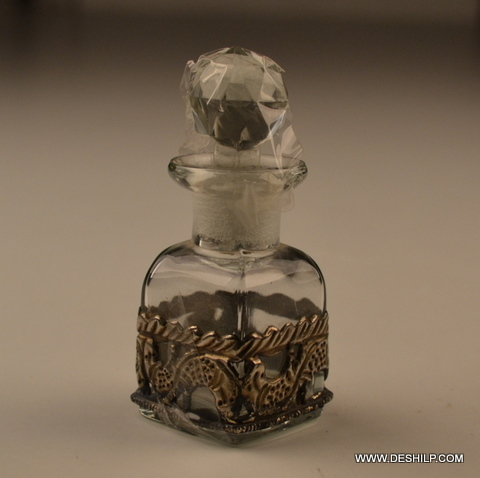 SMALL GLASS DECANTER WITH METAL FITTING