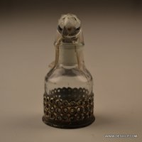 METAL FITTING CUT GLASS DECANTER