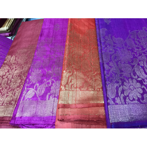 Multicolour Pure Tussar Silk Full Jala Handloom Sarees
