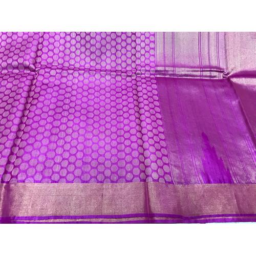 Purple Pure Tussar Silk Full Jala Handloom Sarees