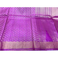 Purple Pure Tussar Silk Full Jala Handloom Sarees
