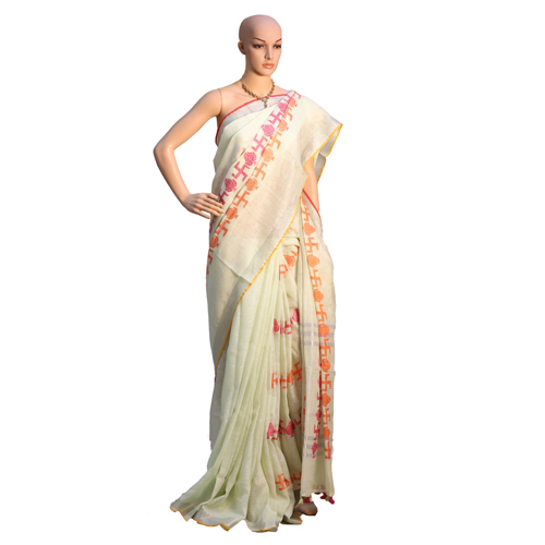 White Linen Jamdani Saree
