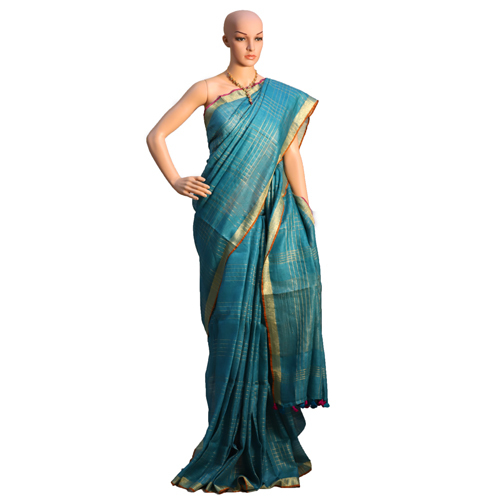 Blue Linen Organic Saree