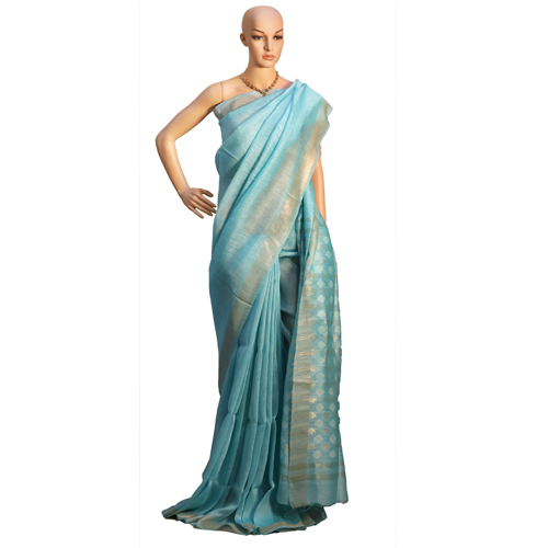 Blue Pure Linen Silk Plain Jari Weaving Pallu Saree