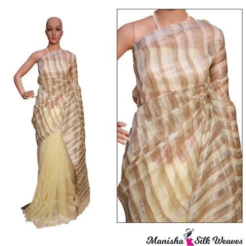 Brown Linen Silk Ghich Stripes Saree