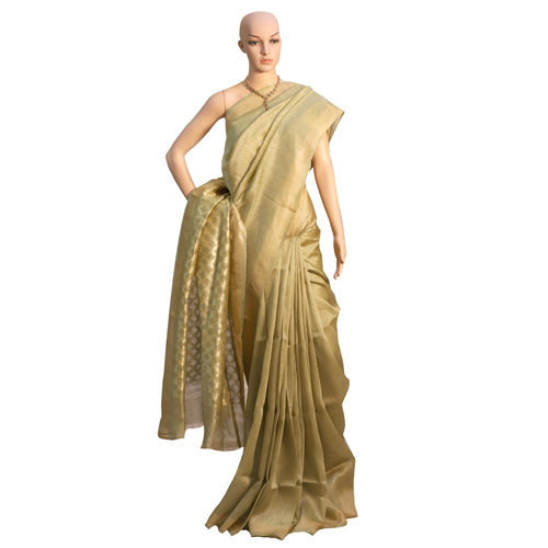 Brown Pure Linen Silk Plain Pallu Saree