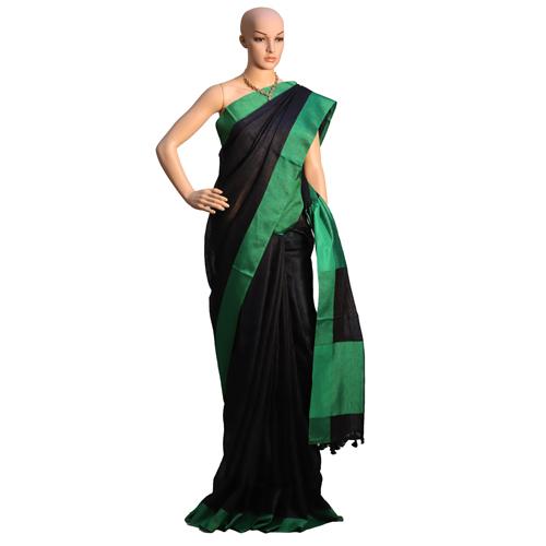 Green Linen Organic Saree