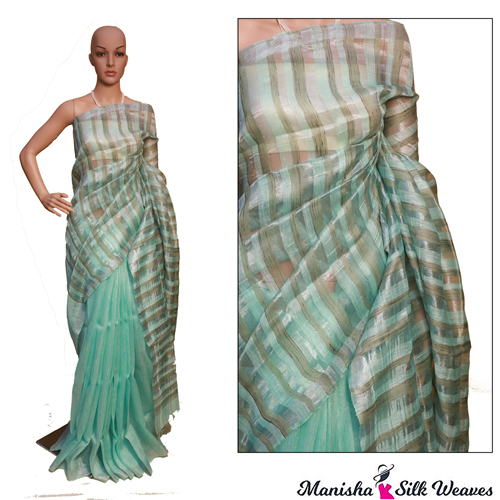 Green Linen Silk Ghich Stripes Saree