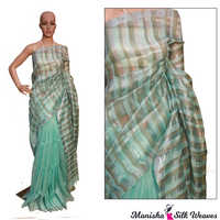 Green Linen Silk Ghich Stripes Saree