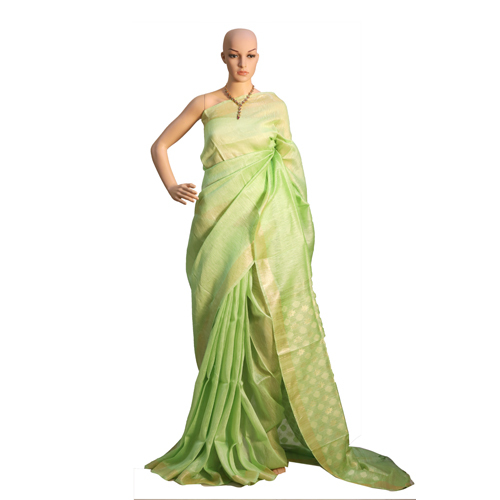 Green Pure Linen Silk Plain Jari Weaving Saree