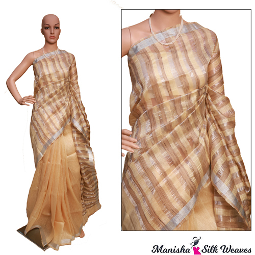 Linen Ghicha Stripes Silk Saree
