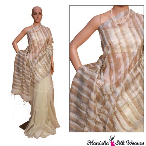 Linen Silk With Ghicha Stripes Saree