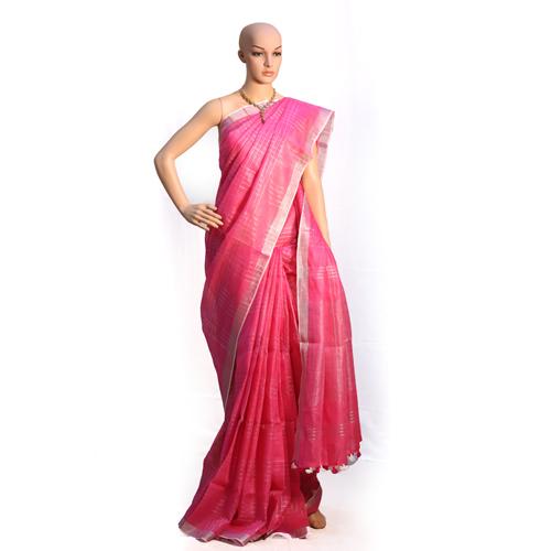 Pink Organic Saree