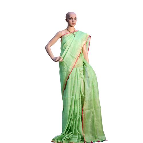 Pure Green Linen Organic Saree