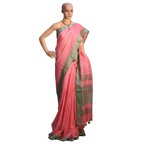 Red Linen Organic Saree