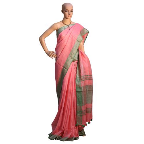 Red Linen Organic Saree
