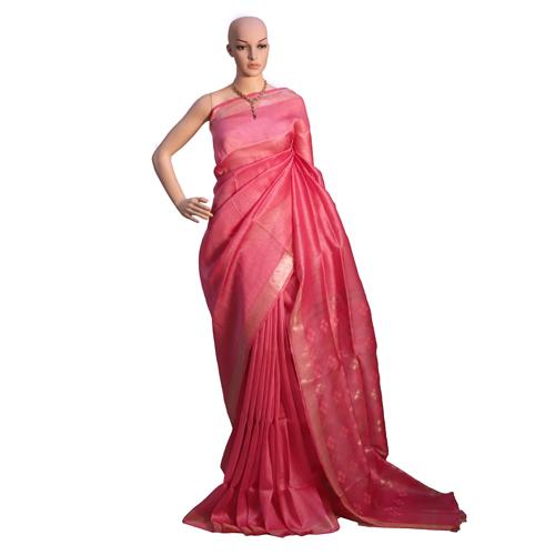 Red Pure Linen Silk Plain Saree With Jari Weaving On Pallu