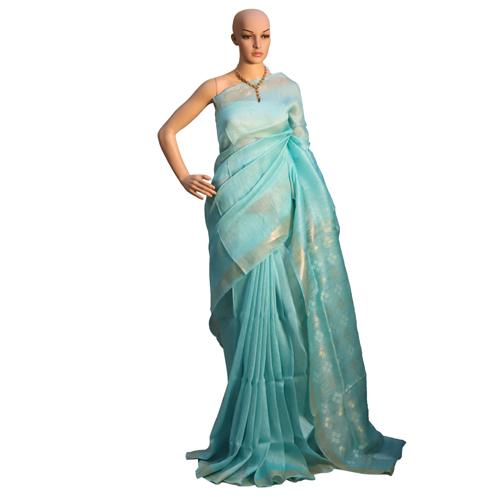 Sky Blue Pure Linen Silk Plain Saree With Jari Weaving On Pallu