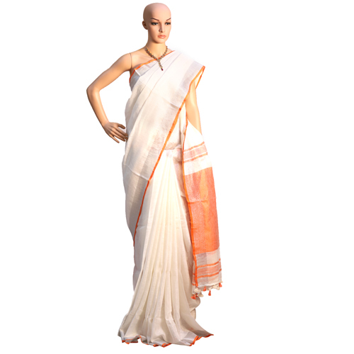 White Linen Organic Sarees