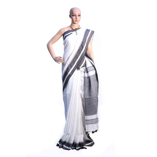 White Pure Linen By Linen Organic Saree