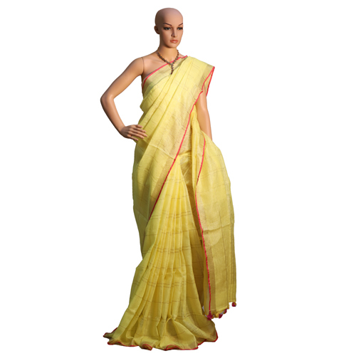 Yellow Linen Organic Saree