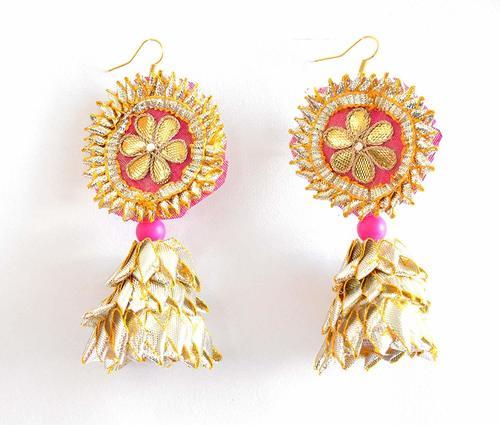 Royal Rajasthani Pink Gota Patti Earrings for Women & Girls