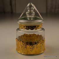 GOLD COLOR METAL FITTING GLASS JAR