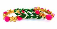 Green Pink Gota Patti Bangle Set for Women & Girls